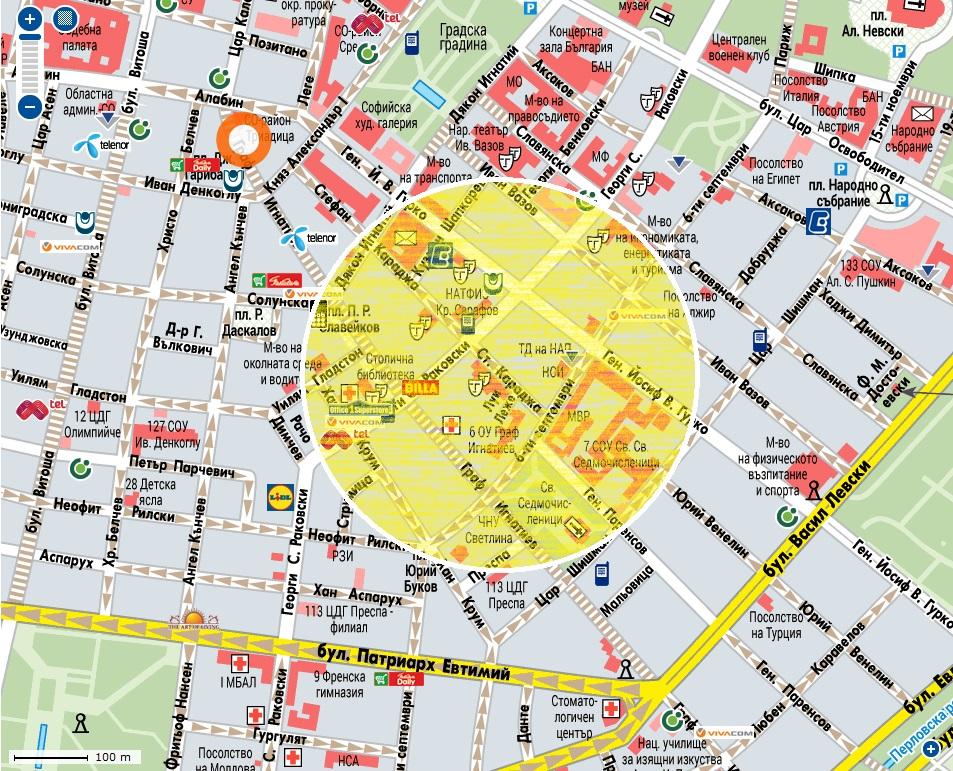Кабинетът на психолога Христо Гешанов се намира в областта, обозначена с жълт кръг.